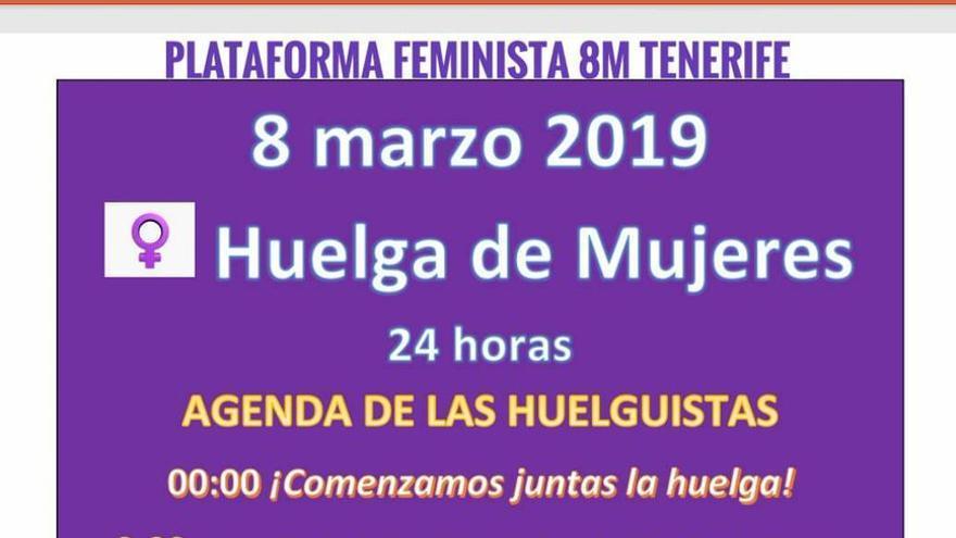 Programa de acciones concebido por la Plataforma Feminista 8M de Tenerife para la Huelga de la Mujer de este viernes