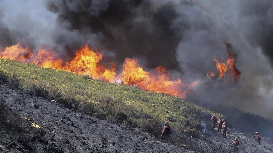 El incendio de Bouzas (León) sigue activo después de 3 días ante el fuerte viento