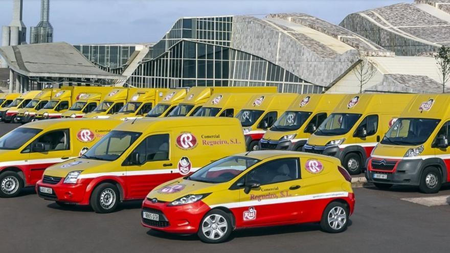Imagen de la flota de una empresa comercial gallega sacada en una sesión de fotografías celebrada en la Cidade da Cultura como evento privado