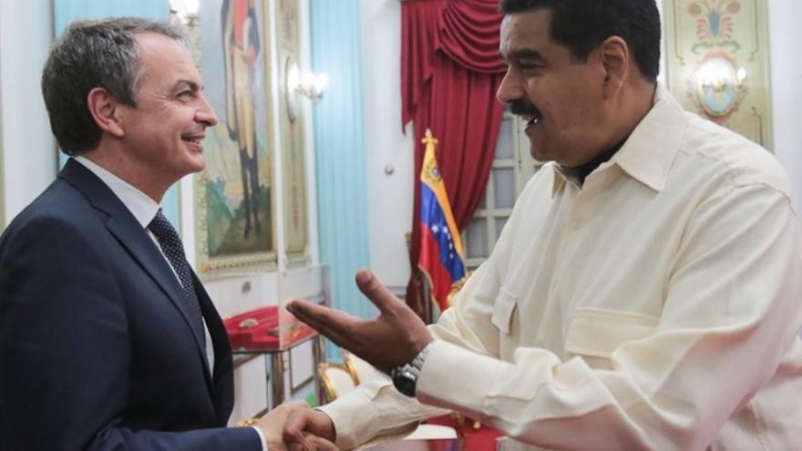 Nicolás Maduro recibe en el Palacio de Miraflores a Rodríguez Zapatero. Foto: Twitter Prensa Presidencial Venezuela