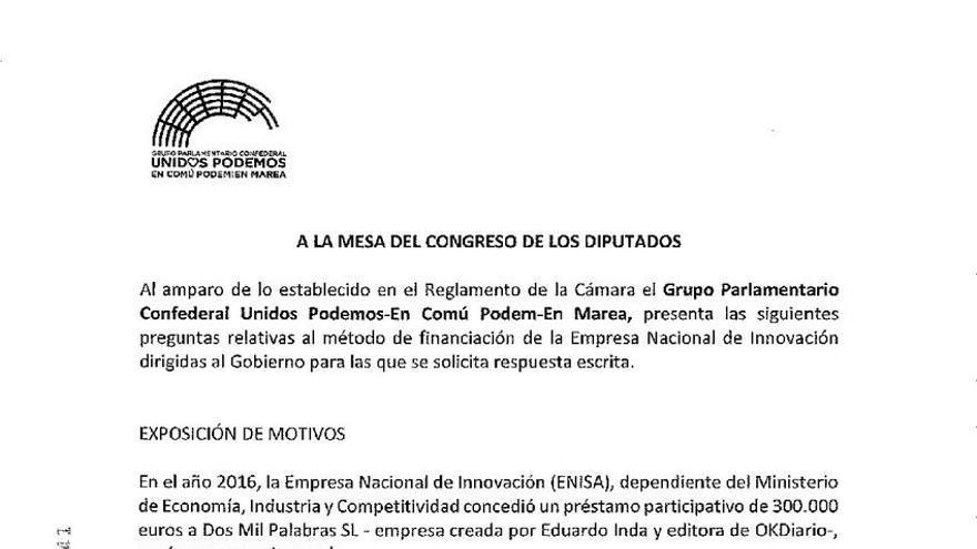Pregunta parlamentaria de Unidos Podemos sobre Eduardo Inda.