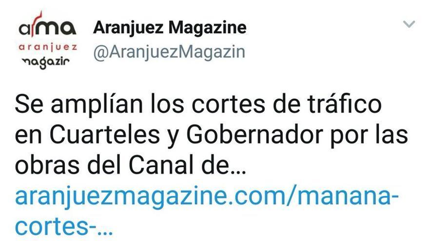 Captura de un tuit de Aranjuez Magazine