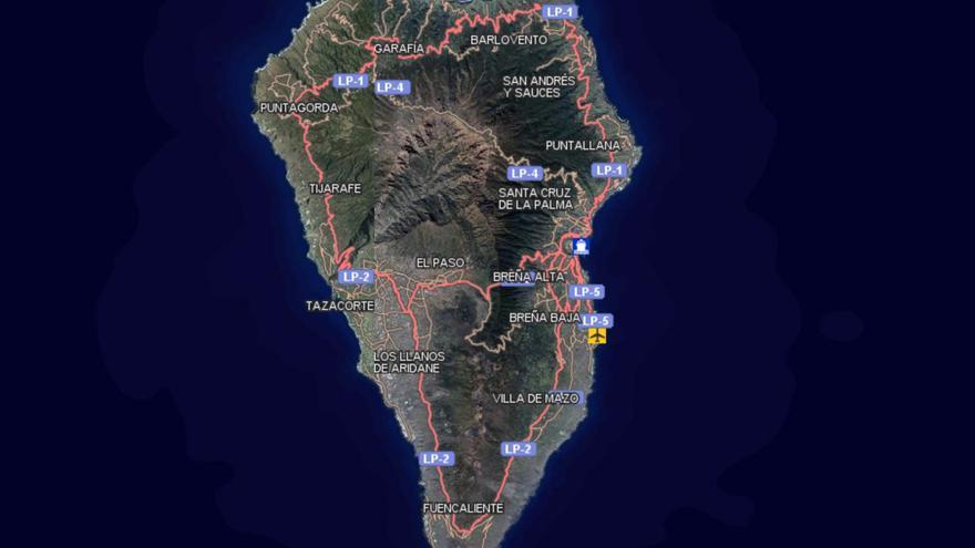 Mapa de La Palma captado del visor de Grafcan (visor.grafcan.es/visorweb/)