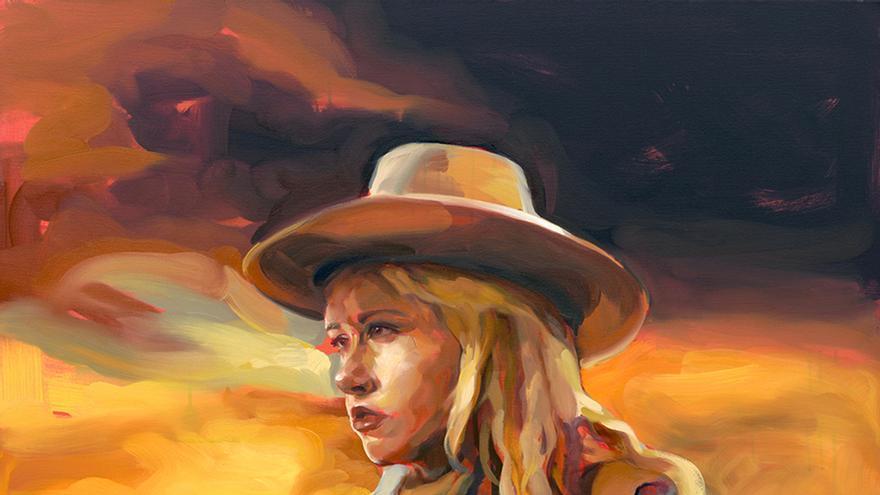 "Krimmie Wayne en ""Centauros del desierto"", oleo sobre lienzo"