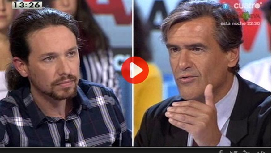 Debate entre Pablo Iglesias y Juan Fernando López Aguilar en Las Mañanas de Cuatro.