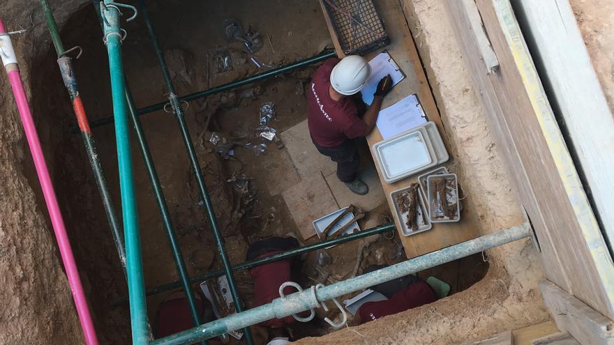 Los arqueólogos excavan la fosa común del cementerio de Paterna