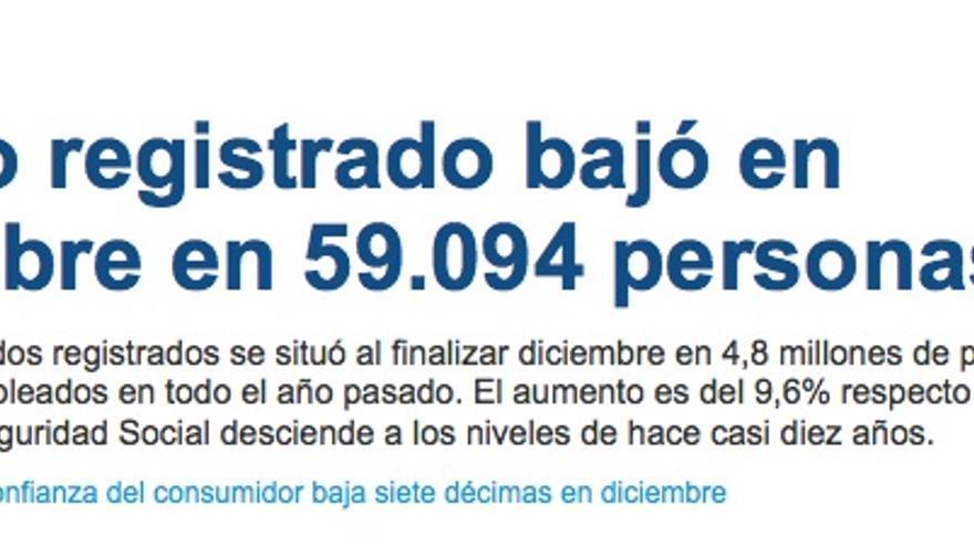Noticia de portada publicada este jueves en eldiario.es