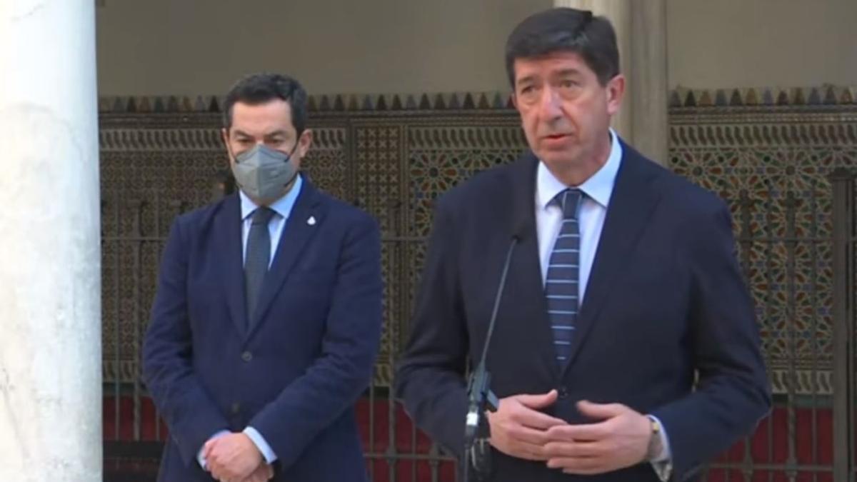 Juan Marín y Moreno Bonilla durante una rueda de prensa.