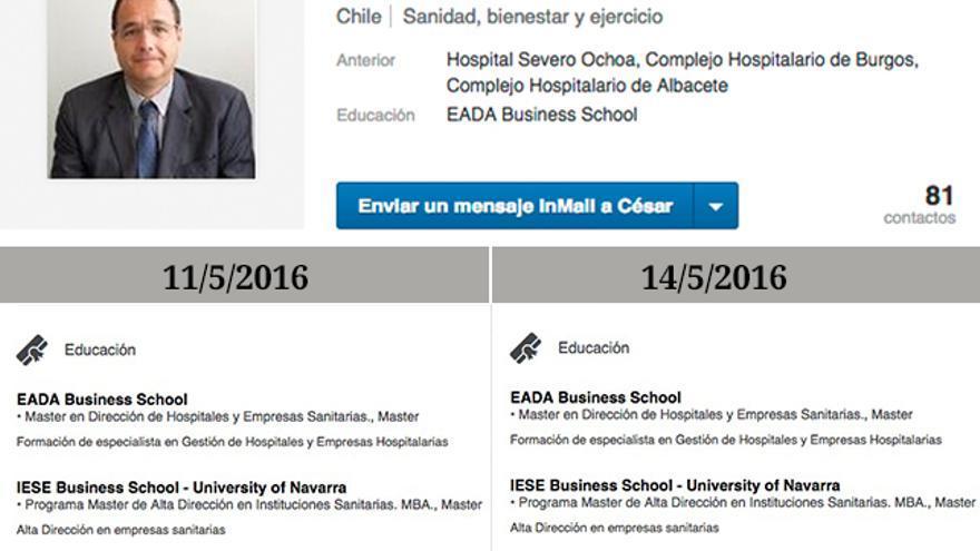 César Gómez, uno de los gerentes de hospital afines al PP colocados a dedo falseó su currículum en Linkedn