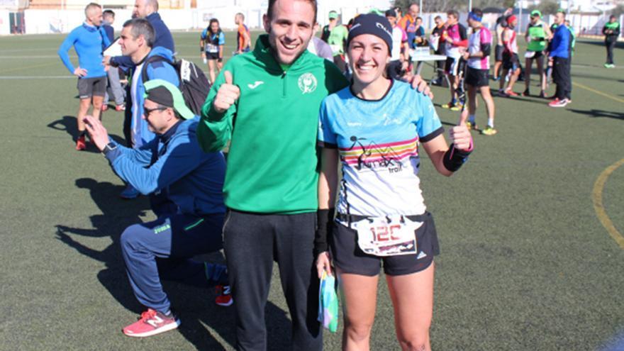 Ángel Merino y Virginia Aguilera tras vencer en el Trail Villafranca de Córdoba | MASATLETISMO.COM
