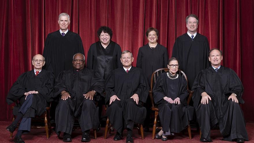 Los actuales miembros del Tribunal Supremo de EEUU.