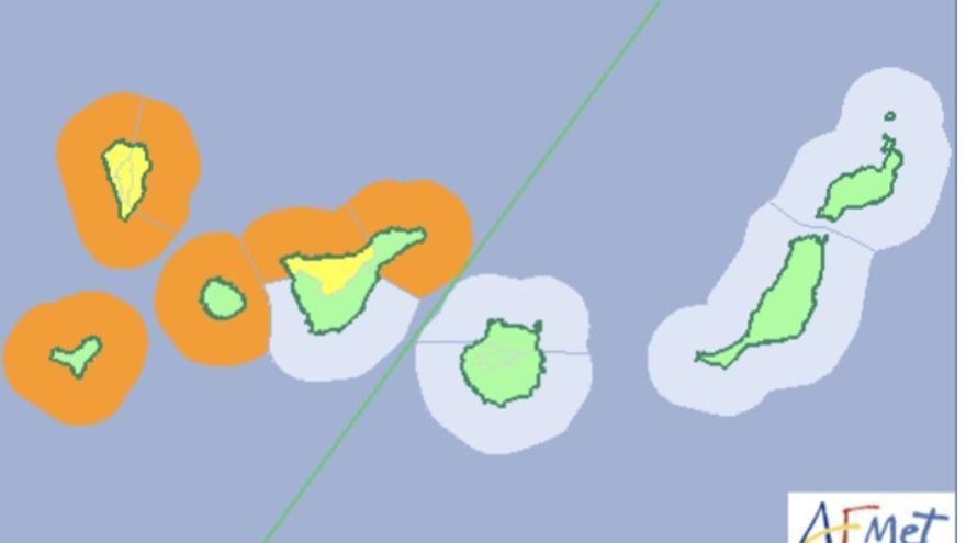 Mapa de la Aemet de los avisos por lluvias, viento y oleaje para este sábado.