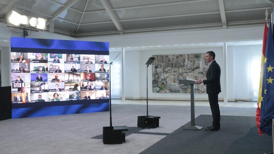 El presidente del Gobierno, Pedro Sánchez, presenta el Plan de Recuperación, Transformación y Resiliencia de la Economía Española en un acto telemático. EFE/ Jose Maria Cuadrado Jimenez /MONCLOA