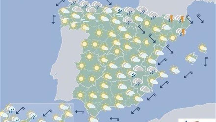 Hoy, precipitaciones en área cantábrica, noreste de Cataluña y Canarias