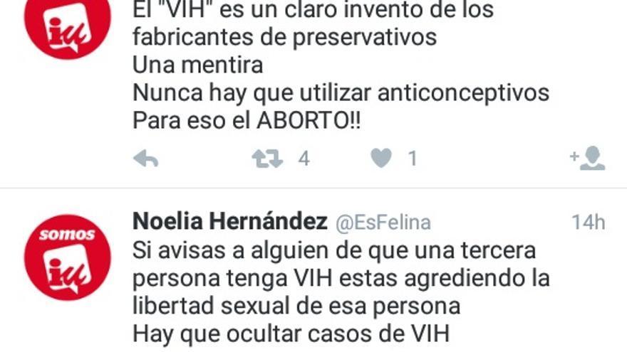 Una captura de pantalla con algunos tuits de @EsFelina.