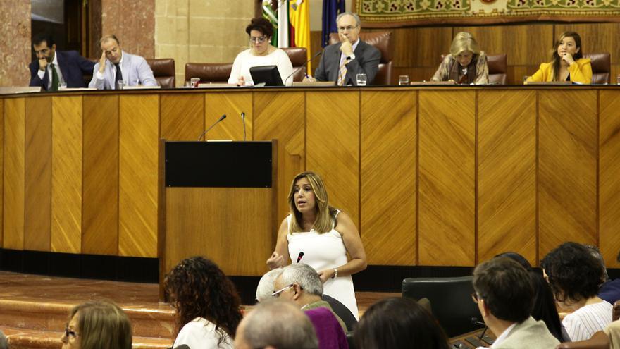 Susana Díaz en la sesión de control