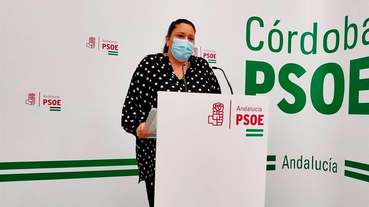 Lola Amo, en la sede del PSOE.