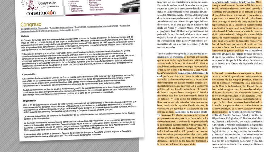 Texto plagiado sobre el Consejo de Europa.