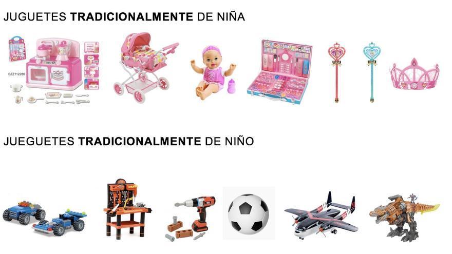 Imagen de juguetes para niños y niñas.