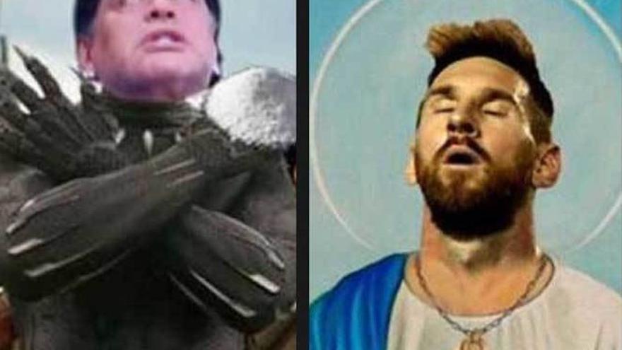 Meme de Maradona y Messi