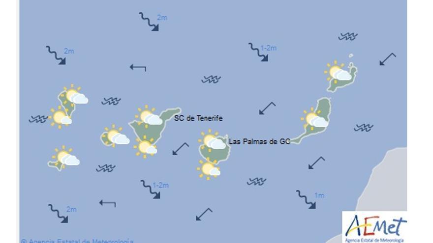 Mapa con la previsión del tiempo para este martes, 6 de diciembre