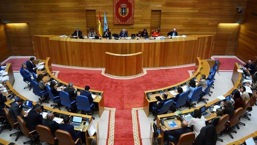 Vista del hemiciclo durante un pleno del Parlamento de Galicia