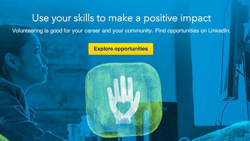 LinkedIn ofrece ahora trabajo para voluntarios (Foto: volunteer.linkedin.com)