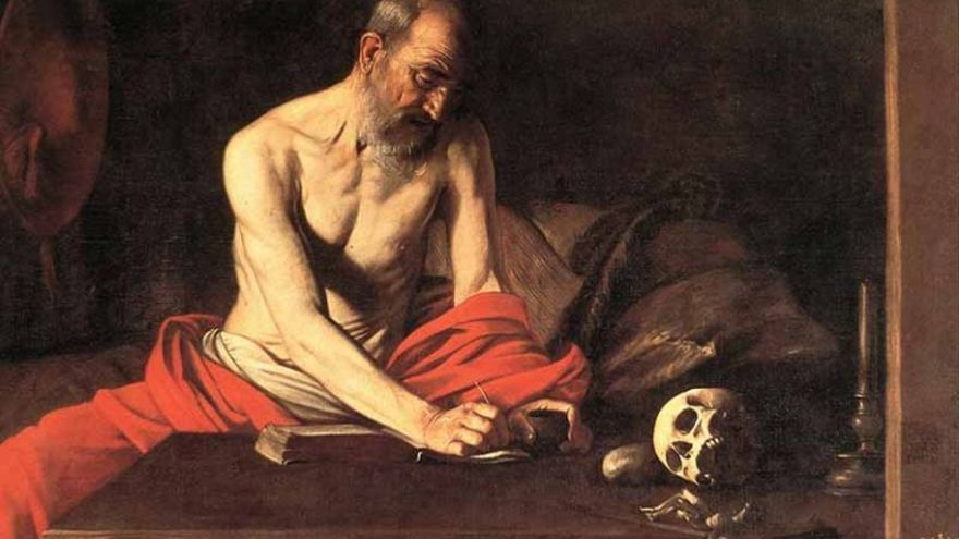 San Jerónimo escribiendo.   Caravaggio