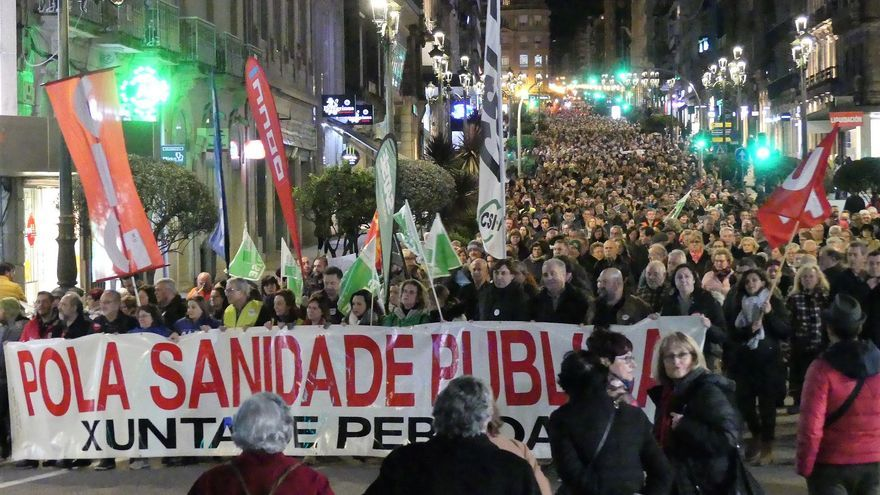 Movilización en defensa de la sanidad pública el pasado enero en Vigo