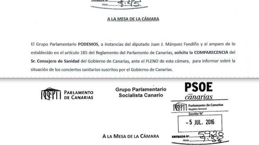 Comparativa de peticiones de comparecencias de Podemos y el PSOE con varias días de diferencia.