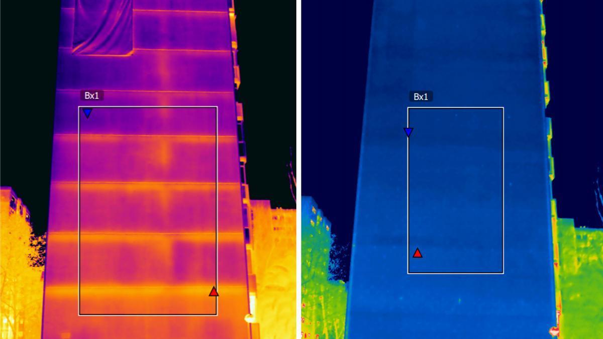 Estas dos imágenes termográficas muestran la temperatura de la fachada de un edificio en el barrio de Orcasitas (Madrid). A la izquierda, los tonos cálidos significan que el calor se escapa hacia la calle. A la derecha, después de la rehabilitación, el tono azul traduce que la fachada está perfectamente aislada.