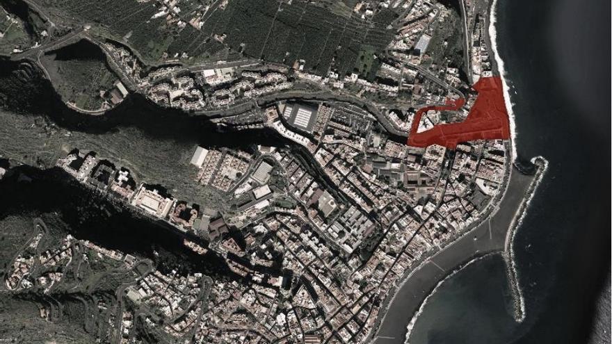 Localización del área de intervención en Santa Cruz de la Palma.