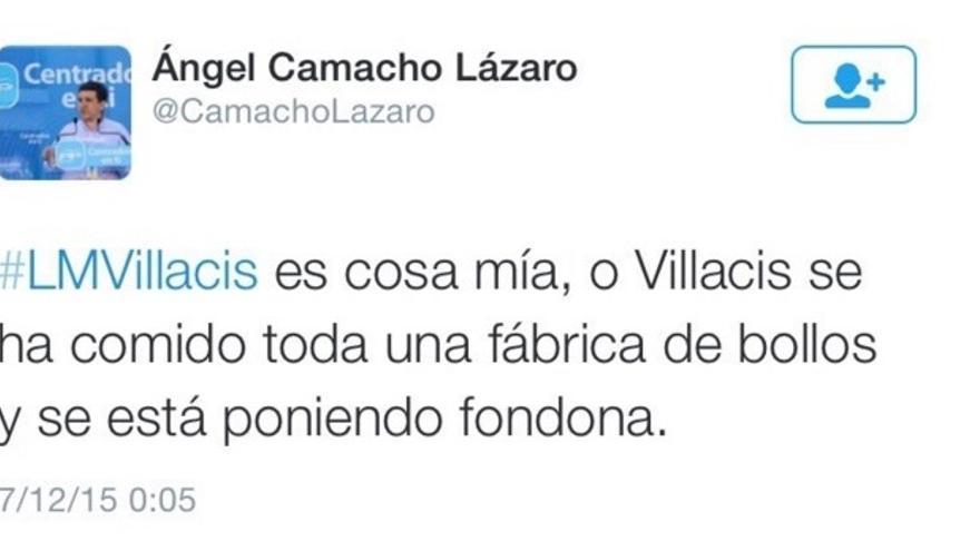 Tuit del secretario general del PP en Galapagar, Ángel Camacho Lázaro.