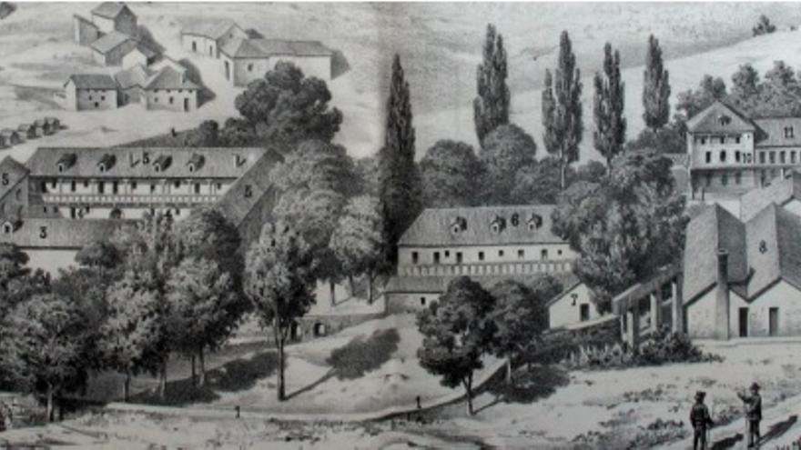 Edificio de la Dirección, talleres y viviendas obreras de las Fábricas de Riópar. Catálogo de la Compañía Metalúrgica, 1879