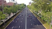Vista del tramo peatonalizado en la Castellana, desde el puente de Juan Bravo (Madrid)