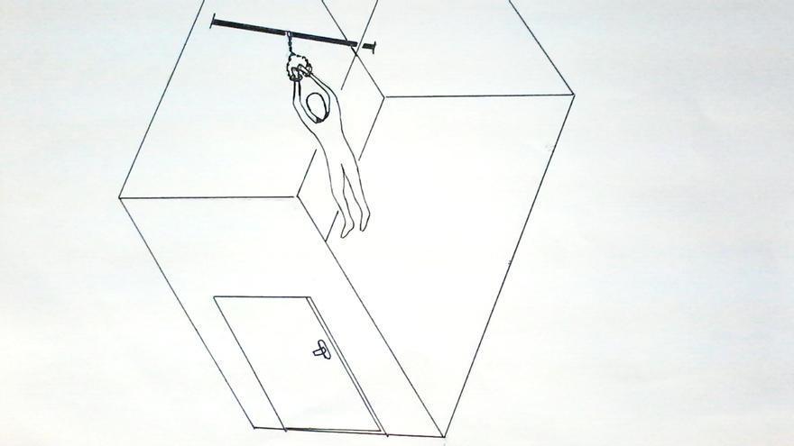 Dibujo de Mohamed en el que describe la privación de sueño que sufren los presos en Guantánamo