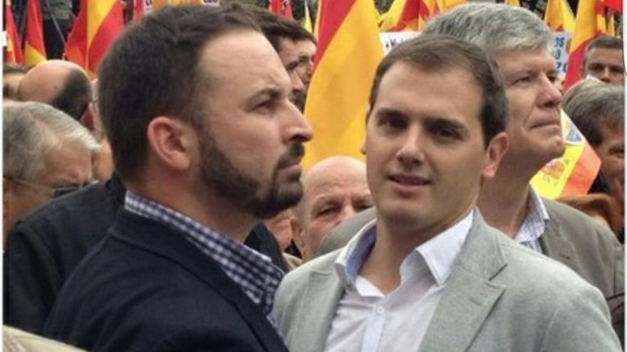 Abascal y Rivera en una foto difundida por el líder de Vox en su cuenta de Twitter