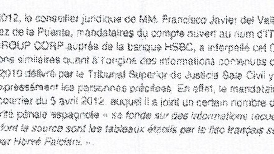 Respuesta de la autoridades suizas sobre la cuenta de Pedro Pérez y el abogado de Correa