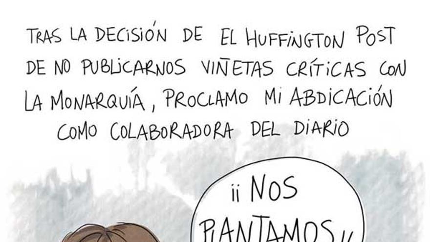 Viñeta con la que la ilustradora Atxe anuncia que abandona el Huffington Post.