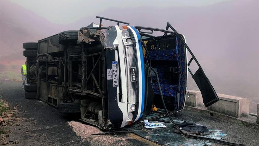 Accidente de circulación ocurrido al volcar una guagua de turistas en la zona de Arguayoda, en el municipio gomero de Alajeró. EFE/Sofía Brito