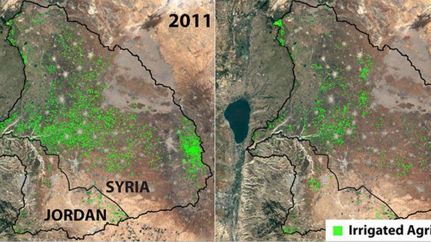 Tierras agrícolas en la cuenca del río Yarmuk entre 2011 y 2015