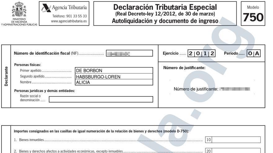 Declaración Tributaria Especial (DTE) presentada por Alicia de Borbón el 29 de noviembre de 2012