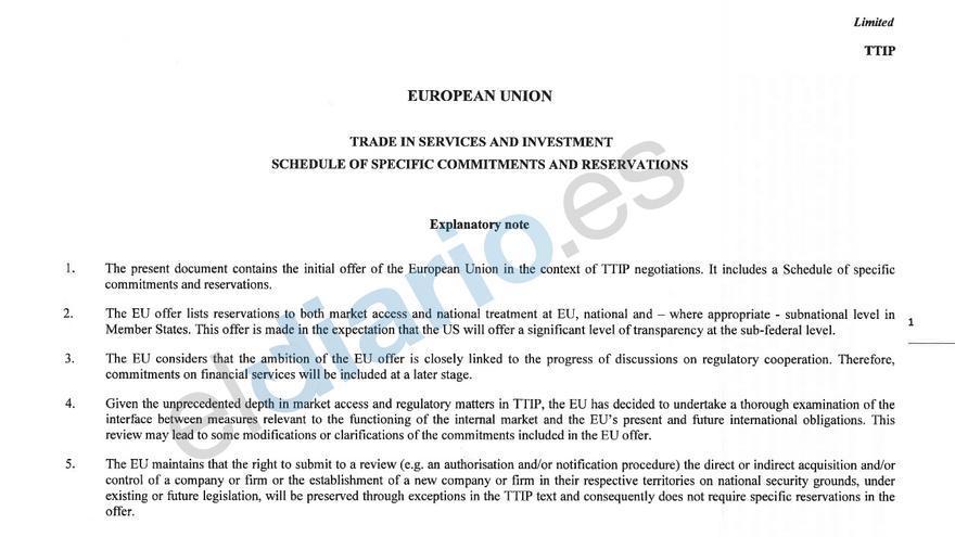Nota explicativa del borrador del TTIP que maneja la Comisión de Servicios e Inversión de la UE