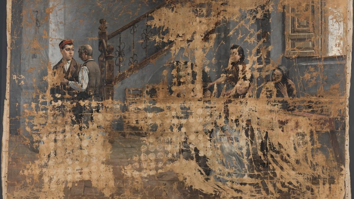 """La obra atribuida por error a Concepción Mejía de Salvador con el título """"Escena de familia"""" (en imagen), que correspondería en realidad a Adolfo Sánchez Megías (1864-1945)."""