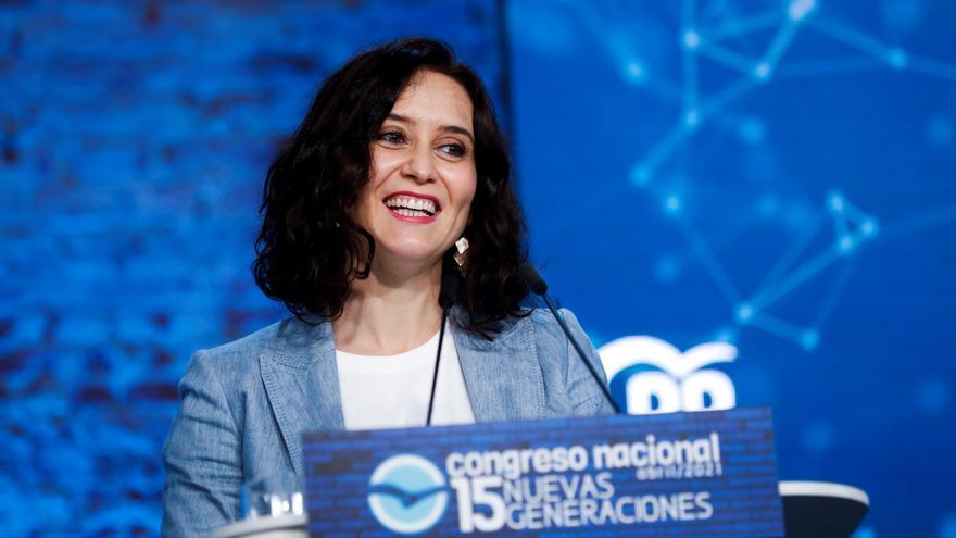La presidenta de la Comunidad de Madrid, Isabel Díaz Ayuso, durante su intervención en la inauguración del Congreso de Nuevas Generaciones del PP.