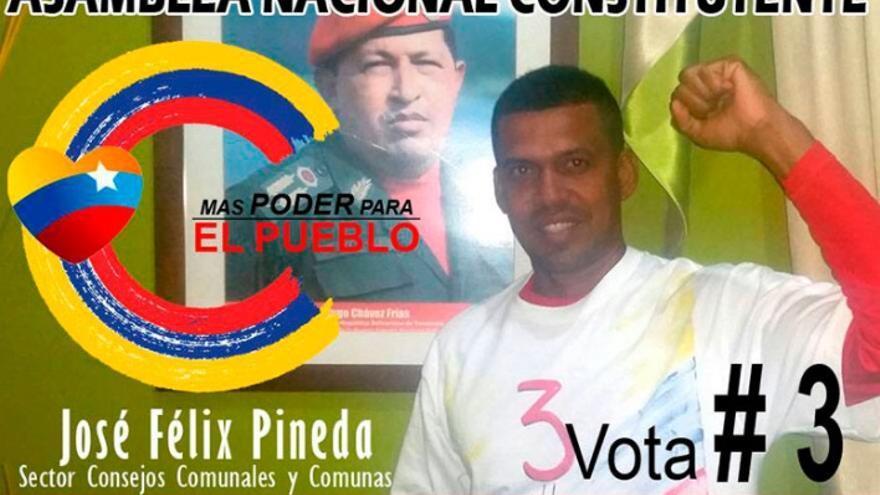 José Félix Pineda, en un cartel de campaña para la Asamblea Constituyente Venezolana.