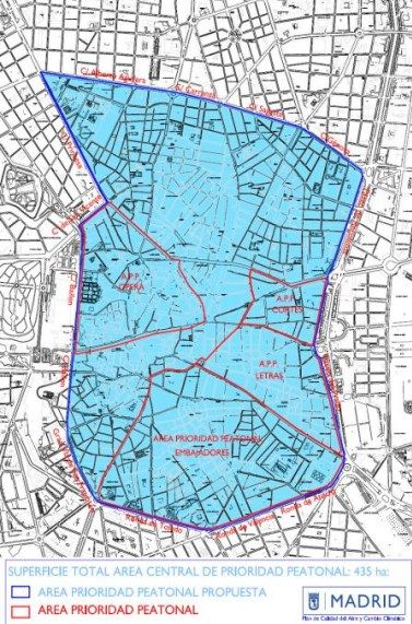 Área de prioridad peatonal propuesta por el Ayuntamiento