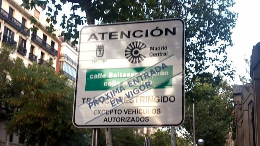 Uno de los carteles de entrada a Madrid Central | SOMOS MALASAÑA