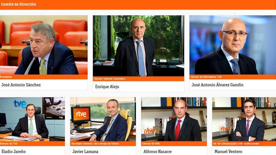 Antiguo comité directivo de RTVE con el expresidente José Antonio Sánchez a la cabeza