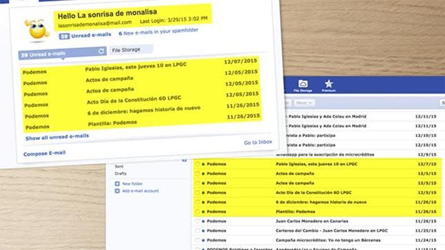Cuentas de correo creadas por el equipo de Juan Manuel Brito para las primarias.
